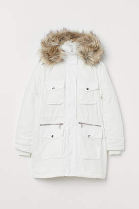 H&M Padded Parka with Hood - White