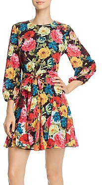 Alice + Olivia Mina Belted Floral Print Fit-and-Flare Mini Dress