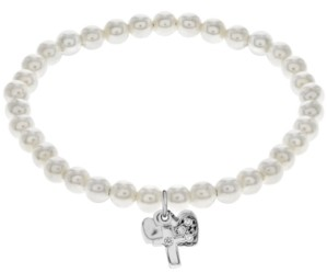 Rhona Sutton Little Star Children's Crystal Charms Pearl Stretch Bracelet in Sterling Silver