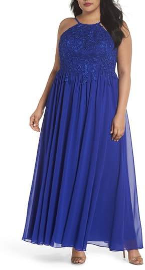 Decode 1.8 Embroidered Bodice Halter Top Maxi Dress