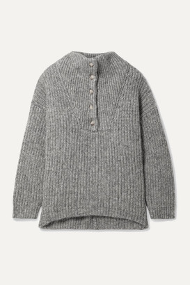 Hatch The Jo Ribbed Cotton And Alpaca-blend Sweater - Gray