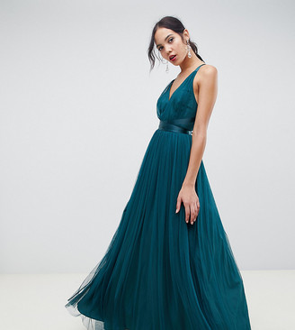 Asos Tall DESIGN Tall Premium Tulle Maxi Prom Dress With Ribbon Ties-Green