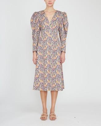 Philosophy di Lorenzo Serafini Puff Sleeve V-Neck Printed Gabardine Midi Dress
