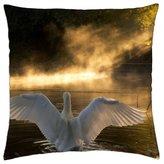 "iRocket - Happy on the lake - Throw Pillow Cover (24"" x 24"", 60cm x 60cm)"