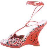 Jimmy Choo Printed T-Strap Wedges