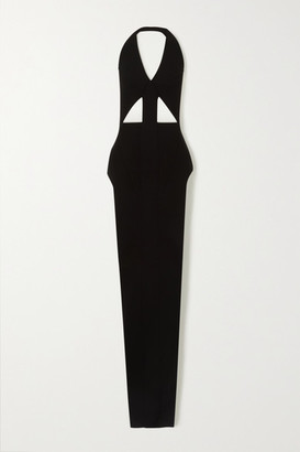 Rick Owens Ixta Backless Cutout Stretch-knit Maxi Dress - Black