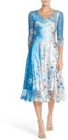 Komarov Petite Women's Floral Print Lace & Charmeuse A-Line Dress