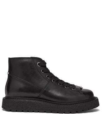Neil Barrett Piercing Lace Up Leather Boots - Mens - Black