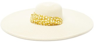 Avenue The Label - Azzurra Floral-print Ribbon-trimmed Straw Hat - Womens - Yellow White