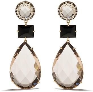 Brumani 18kt Yellow Gold, Diamond And Quartz Drop Earrings