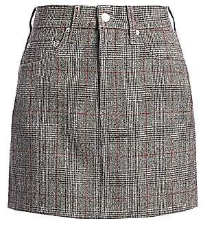 Helmut Lang Women's Femme Hi Plaid Virgin-Wool Mini Skirt
