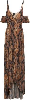 Just Cavalli Cold-shoulder Snake-print Plisse-crepe Gown