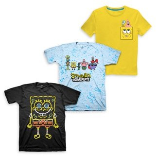 SpongeBob Squarepants Nickelodeon Short Sleeve Graphic Tees, 3pk (Little Boys & Big Boys)