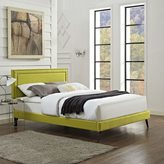 Modway Jessamine Fabric Platform Bed with Round Splayed Legs in Wheatgrass