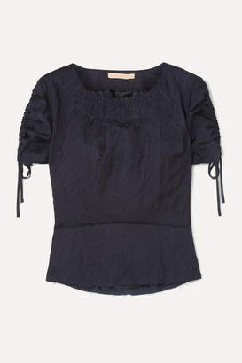 Brock Collection Ruched Grosgrain-trimmed Crinkled-twill Top - Navy