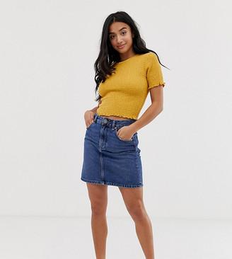 ASOS DESIGN Petite denim original high waisted skirt in midwash blue