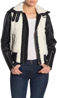 Blanknyc Denim Faux Shearling Faux Leather Moto Jacket