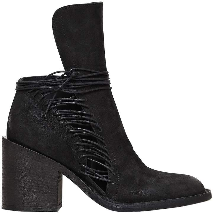 Ann Demeulemeester 80mm Lace Up Leather Ankle Boots