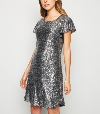 New Look Sequin Flutter Sleeve Mini Dress