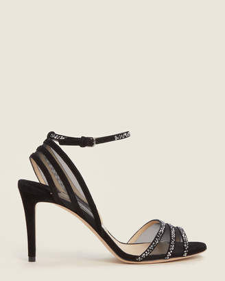 Jimmy Choo Black Betty Embellished Ankle Strap Sandals
