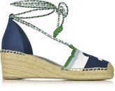 Tory Burch Laguna Navy Sea and Multicolor Canvas & Nubuck Lace-up Wedge Espadrilles