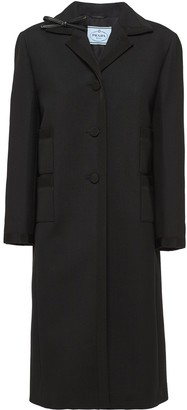 Prada Triangle Logo Single-Breasted Coat