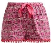 Figue Maja Geometric-print Cotton Shorts - Womens - Pink