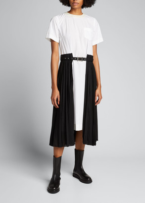 Sacai Poplin Half Pleated Shirtdress w/ Belt