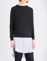 Brunello Cucinelli Chain-back cashmere and silk-blend knitted jumper