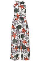 Quiz Cream And Khaki Tropical Print Culotte Jumpsuit