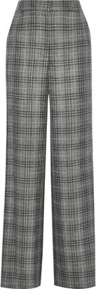 ADAM by Adam Lippes Checked Wool, Silk And Linen-blend Wide-leg Pants