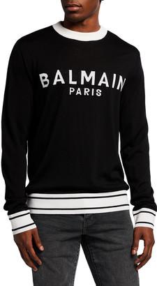 Balmain Men's Two-Tone Logo Wool Sweater
