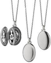 Monica Rich Kosann 18k White Gold & Diamond Oval Locket Necklace