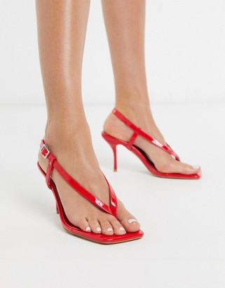 Simmi Shoes Simmi London Estelle toe thong heeled sandas in red