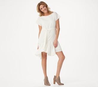 Vince Camuto Short-Sleeve Asymmetric Hem Belted Dress