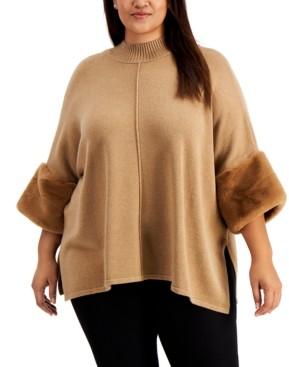 Alfani Plus Size Faux-Fur-Cuff Poncho Sweater, Created for Macy's