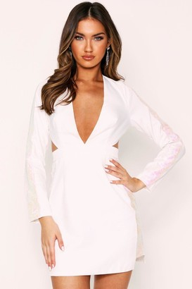 boohoo Cut Out Sequin Panel Plunge Dress