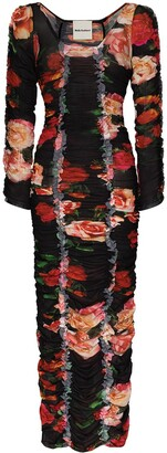 Molly Goddard Ruched Floral-Print Dress
