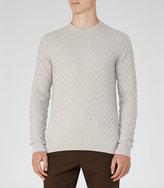 Reiss Reiss Prima - Check Weave Jumper In Grey