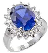 Kenneth Jay Lane Pave Border Oval Sapphire Ring