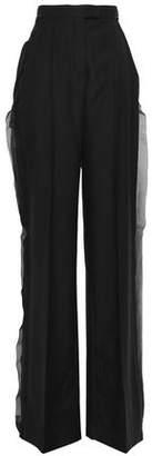 Antonio Berardi Niko Silk Georgette-trimmed Wool Wide-leg Pants