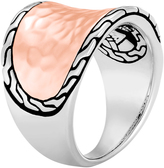 John Hardy Women's Classic Chain Saddle Ring, Sterling Silver, Hammered 18K Rose Gold
