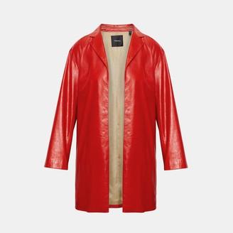 Theory Varnished Leather Overlay Coat