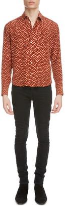 Saint Laurent Fawn Polka Dot Long Sleeve Silk Button-Up Shirt