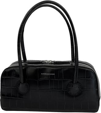Marge Sherwood Bessette Zipper Croc-Effect Leather Top Handle Bag