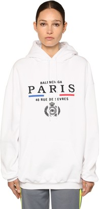 Balenciaga Paris Flag Cotton Jersey Hoodie