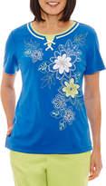 Alfred Dunner Corsica Short Sleeve Crew Neck T-Shirt-Womens