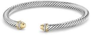 David Yurman Cable Classics Bracelet With Diamonds And 18K Gold, 5Mm