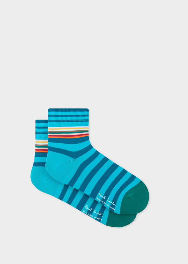 Mens Turquoise And Blue Stripe Cycling Socks