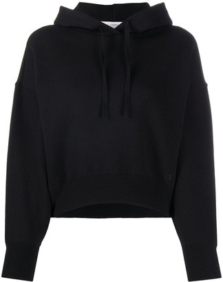 Valentino VLOGO cropped hooded jumper